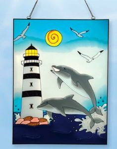 24 Inch x 18 Inch Dolphin Stain Glass Lighthouse Decor by Lighthouse Man. $70.80. 24 Inch x 18 Inch Lighthouse / Dolphin Stain Glass