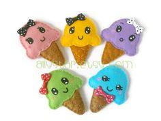Kawaii Ice cream brooch cute plushie by AllyStar on Etsy, €8.00