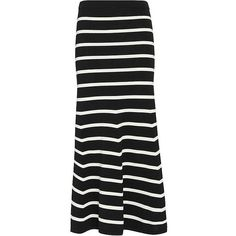 Cardigan Striped Knit Flare Maxi Skirt ($250) ❤ liked on Polyvore featuring skirts, black white striped skirt, flared maxi skirt, flare skirt, long striped skirt and knit maxi skirt