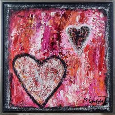 Hearts I 60x60 cm - SOLD - Art by Lønfeldt - original abstract painting, modern textured art, colorful