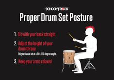 Once you have your kit set up, let's talk about the correct posture for drumming. Maintaining proper drum set posture is important because it will help you play more efficiently, improve your sound and decrease your risk of injury. Drum Lessons For Kids, Music Lessons, Drum Throne, Drum Pedal, Drum Music, School Of Rock, Heavy Metal Music, Posture Correction, Snare Drum