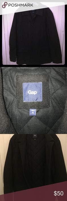 NEW! Gap Men's Jacket Black wool Gap Men's jacket with quilted lining interior. Jacket buttons up in the front, has an inside pocket and side pockets. Size XL outer jacket is 80% wool and 20% nylon. Interior of the jacket is 100% cotton. Jacket was rarely worn and in great condition. GAP Jackets & Coats Pea Coats