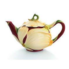 kathy ireland Home by Franz Collection Autumn Memories Floral Porcelain Teapot