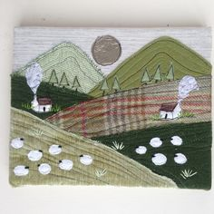 Well folks, after a year of making mini landscape canvases this is the first time I've done some proper 'landscape' canvases. I usually do them in square or portrait format! Freehand Machine Embroidery, Free Motion Embroidery, Landscape Art Quilts, Landscape Fabric, Fabric Cards, Fabric Postcards, Sewing Art, Sewing Crafts, Diy Cards And Envelopes