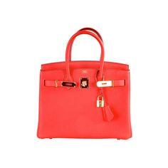 Hermes - HERMES BIRKIN BAG 30 CM CAPUCINE GOLD HARDWARE - NEW COLOR ! ❤ liked on Polyvore