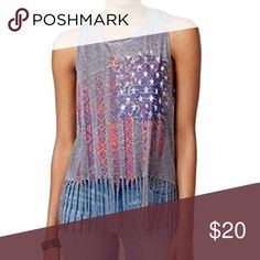 6a471419047e Almost Famous American Flag Fringe Sleeveless Tee Almost Famous Flag Fringe  Graphic Sleeveless Tee-Shirt