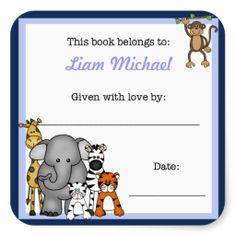Jungle Animals Book Plate Blue Boy BOOKPLATE Square Sticker