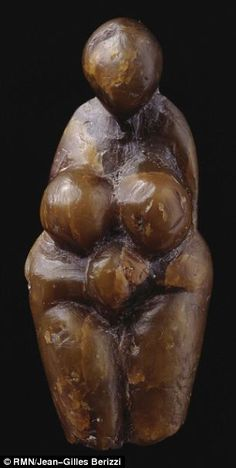 this female figure was sculpted from steatite, also known as soap stone about 20,000 years ago. Found at Grimaldi, Italy, and is on loan from the Musée d'archéologie nationale