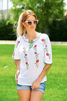 Beauty Roses White Traditional Blouse, slightly transparent fabric, elastic cleavage, embroidery details, laced details Fabric Textures, Product Label, Cotton Style, Lace Detail, Floral Tops, Roses, Traditional, Beauty, Blouse