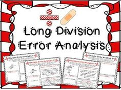 Engage your students with 9 Error Analysis worksheets for long division. My students LOVE error analysis, and I have even seen kids take error analyses out to recess because they are determined the figure out what error took place, or the perfect wording to describe what happened.