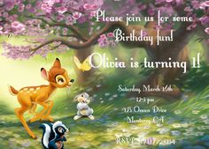 Bambi Thumper Flower Birthday Party Invitation digital file.