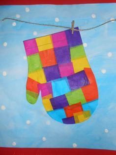 Glove in the winter - Art Winter Art Projects, Winter Project, Craft Projects, Craft Ideas, Kindergarten Art, Preschool Art, Arte Elemental, Art For Kids, Crafts For Kids
