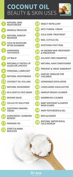 The different uses and benefits to coconut oil.
