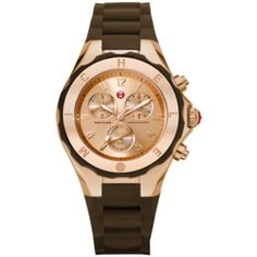 Pre-owned Nwt Michele Jelly Bean Rose Gold / Brown Watch (€220) ❤ liked on Polyvore featuring jewelry, watches, accessories, none, pre owned jewelry, michele jewelry, preowned watches, rose gold wrist watch and preowned jewelry