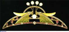 Luis Masriera (1872-1958) Grass hopper tiara pearls, diamonds, rubies and enamel set in gold art nouveau