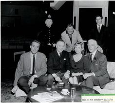 """Cast photo of the Valley Music Theatre's Nov. 16, 1965 production of """"Dial M for Murder"""". Included in the cast are Maurice Evans, Phyllis Avery, and Murray Matheson. Black and white photograph, 8 x 10 in."""