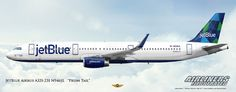 https://flic.kr/p/DAXuCN | JetBlue Airbus A321-231 N946JL Prism Tail Design Airliner Art | Airliners Illustrated® by Nick Knapp©. www.AirlinersIllustrated.com