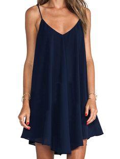 Navy Blue Cross Back Cami Swing Dress | abaday