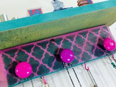pallet wood necklace holder / decorative accent shelf / jewelry display reclaimed wood hot pink morrocan decor 4 hooks 3 hand-painted knobs