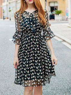 Shop Midi Dresses - Black Bell Sleeve Floral Midi Dress online. Discover unique designers fashion at StyleWe.com.