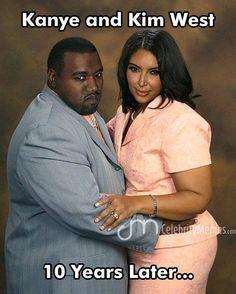 Kanye West and Kim Kardashian - 10 years later!