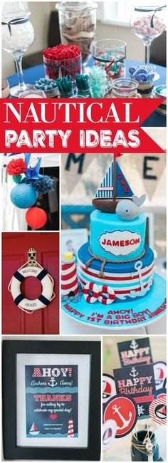 How fun is this first boy birthday party with a nautical theme?! See more party ideas at CatchMyParty.com!: