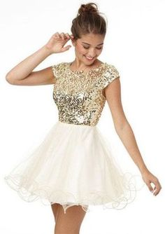 Glittery Gold And White Homecoming Dresses 2015 Sparkly Glitter Short Prom Dress With Cap Sleeves Formal Gowns · meetdresses · Online Store Powered by Storenvy Cheap Homecoming Dresses, Hoco Dresses, Pretty Dresses, Beautiful Dresses, Dresses 2016, Prom Gowns, Teen Party Dresses, Dresses Online, Delias Dresses