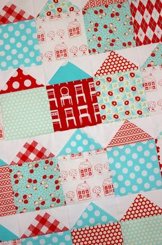 What a fun and simple quilt idea!! Playing with Red and Aqua House Blocks