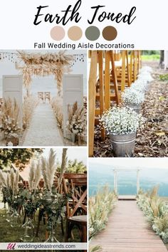 Diy Outdoor Weddings, Wedding Decorations On A Budget, Weddings On A Budget, Wedding Centerpieces, Romantic Wedding Colors, Neutral Wedding Colors, Wedding Color Schemes, Earth Tone Wedding, Theme Color