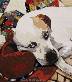 Daddy's Boy by Kay Donges. Closeup photo by Quilt Inspiration: 2017 Houston International Quilt Festival. Dog Quilts, Animal Quilts, Fabric Painting, Fabric Art, Portrait Art, Pet Portraits, Photo Quilts, Landscape Art Quilts, International Quilt Festival