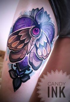 #neo #traditonal #moth #tattoo #heart