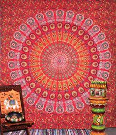 Peacock Mandala Tapestry, Indian Hippie Wall Hanging , Bohemian Bedspread, Mandala Cotton Dorm Decor Beach blanket: Amazon.co.uk: Kitchen & Home