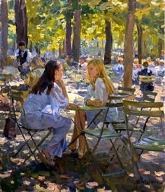 "When I like a painting it is usually immediate. I really am not interested in the brush strokes or who the artist is, but in what I feel about the scene.  In this painting ""Two Friends"" I immediately thought of how often I have sat with a companion, male/female, and enjoyed a delightful day just being together and talking."
