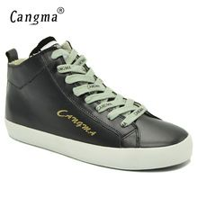 CANGMA Luxury Black Footwear Woman s Casual Shoes Sneakers For Girls Genuine  Leather Female Shoes Mid Women adbce8acb3b7