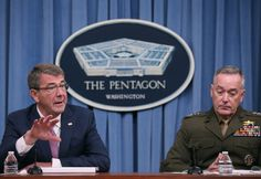 ARLINGTON, VA - FEBRUARY 29: U.S. Secretary Of Defense Ash Carter (L) and Chairman of the Joint Chiefs, Gen. Joseph Dunford speak to the media in the Pentagon briefing room, on February 29, 2016 in Arlington, Virginia. It was said that the U.S.-led coalition fighting the Islamic State expects to provide Iraqi forces with additional types of support during the battle to reclaim the Iraqi city of Mosul.   Mark Wilson/Getty Images/AFP