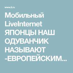 Мобильный LiveInternet ЯПОНЦЫ НАШ ОДУВАНЧИК НАЗЫВАЮТ -ЕВРОПЕЙСКИМ ЖЕНЬ -ШЕНЬ! | Strelga - Дневник Strelga |