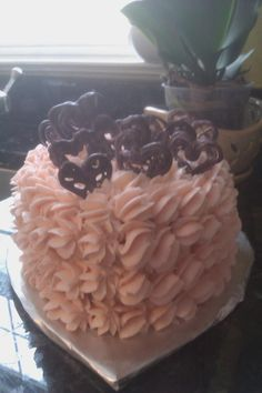 Valentine's Cake, dark red velvet, southern buttercream, chocolate hearts