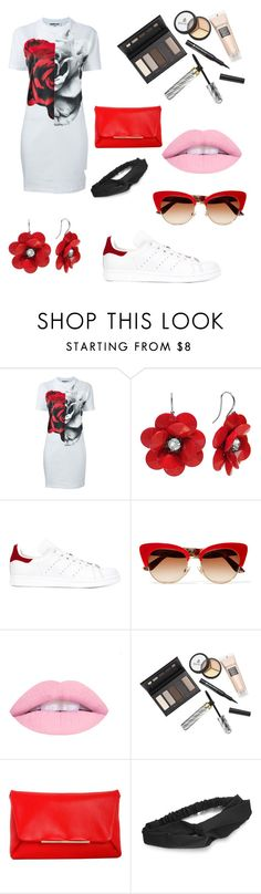 """""""Roѕey Red"""" by lizzy-2002 ❤ liked on Polyvore featuring McQ by Alexander McQueen, adidas, Dolce&Gabbana, Borghese and Lanvin"""