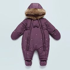 Baby's purple flower embroidered snowsuit - Baby snowsuits - Coats & jackets - Kids -