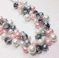 Hey, I found this really awesome Etsy listing at https://www.etsy.com/listing/227645788/gray-pink-and-white-cluster-necklace-for