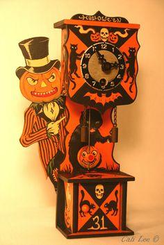 Halloween Treasures by Cali Lee:  Mr. Halloween clock, hand painted