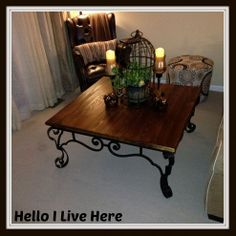What a beauty! This rustic coffee table was upcycled from a thrift shop find.