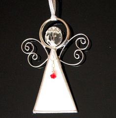 Birthstone Angel  Stained Glass Ornament  All Ocassion by LAGlass