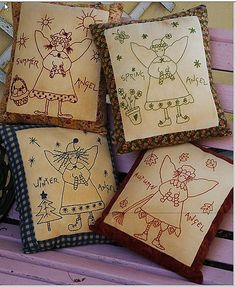 Pillows and Stitcheries: A blessing for all seasons Broderie Primitive, Primitive Embroidery Patterns, Primitive Stitchery, Embroidery Designs, Primitive Crafts, Wood Crafts, Embroidery Works, Cross Stitch Embroidery, Hand Embroidery