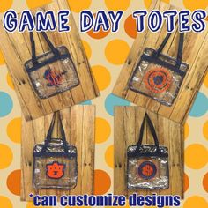 A personal favorite from my Etsy shop https://www.etsy.com/listing/472126145/auburn-clear-gameday-tote-clear-auburn