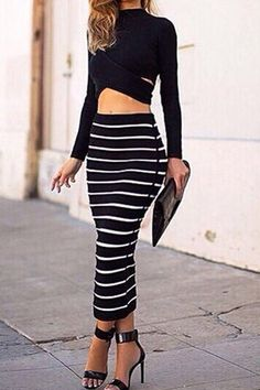 Turtle Neck Long Sleeve Crop Top + Bodycon Striped Skirt Twinset
