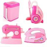 Washing Machine Sewing Machine, Iron, Vacuum Cleaner Set of 4 Pink Mini Pretend PlayToy-The Wolf Moon® Dolls House Home Appliance Play Set
