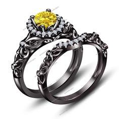 1.10 CT Black Gold Finish Round Shape Disney Princess Engagement Bridal Ring Set…