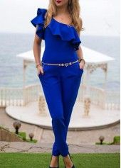 Flounce Decorated Royal Blue One Shoulder Jumpsuit on sale only US$22.16 now, buy cheap Flounce Decorated Royal Blue One Shoulder Jumpsuit at lulugal.com