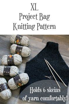 Grab the RESTORATION : XL Project Bag Knitting Pattern, which holds 6 super bulky skeins of yarn comfortably. Knitting Short Rows, Lace Knitting, Knitting Stitches, Designer Knitting Patterns, Knitting Patterns Free, Knit Patterns, Bag Patterns, Yarn Projects, Knitting Projects